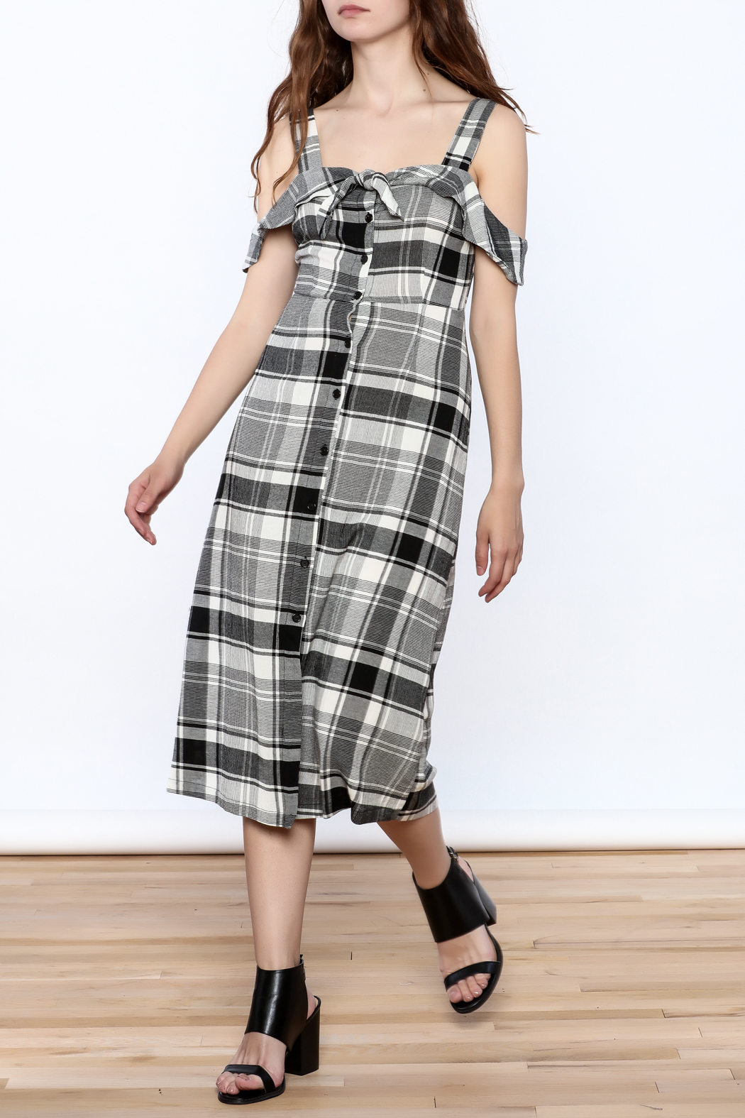 Lush Black Plaid Midi Dress - Front Full Image