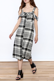Lush Black Plaid Midi Dress - Front full body
