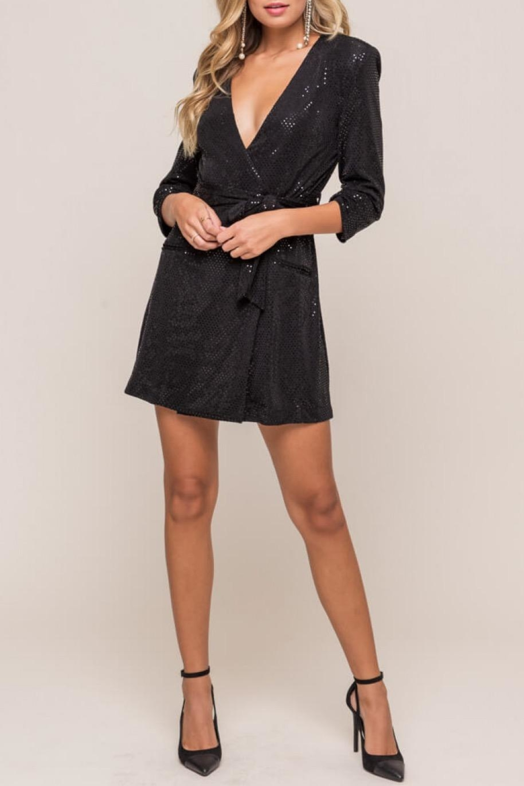 Lush Black Plunging Mini-Dress - Front Cropped Image