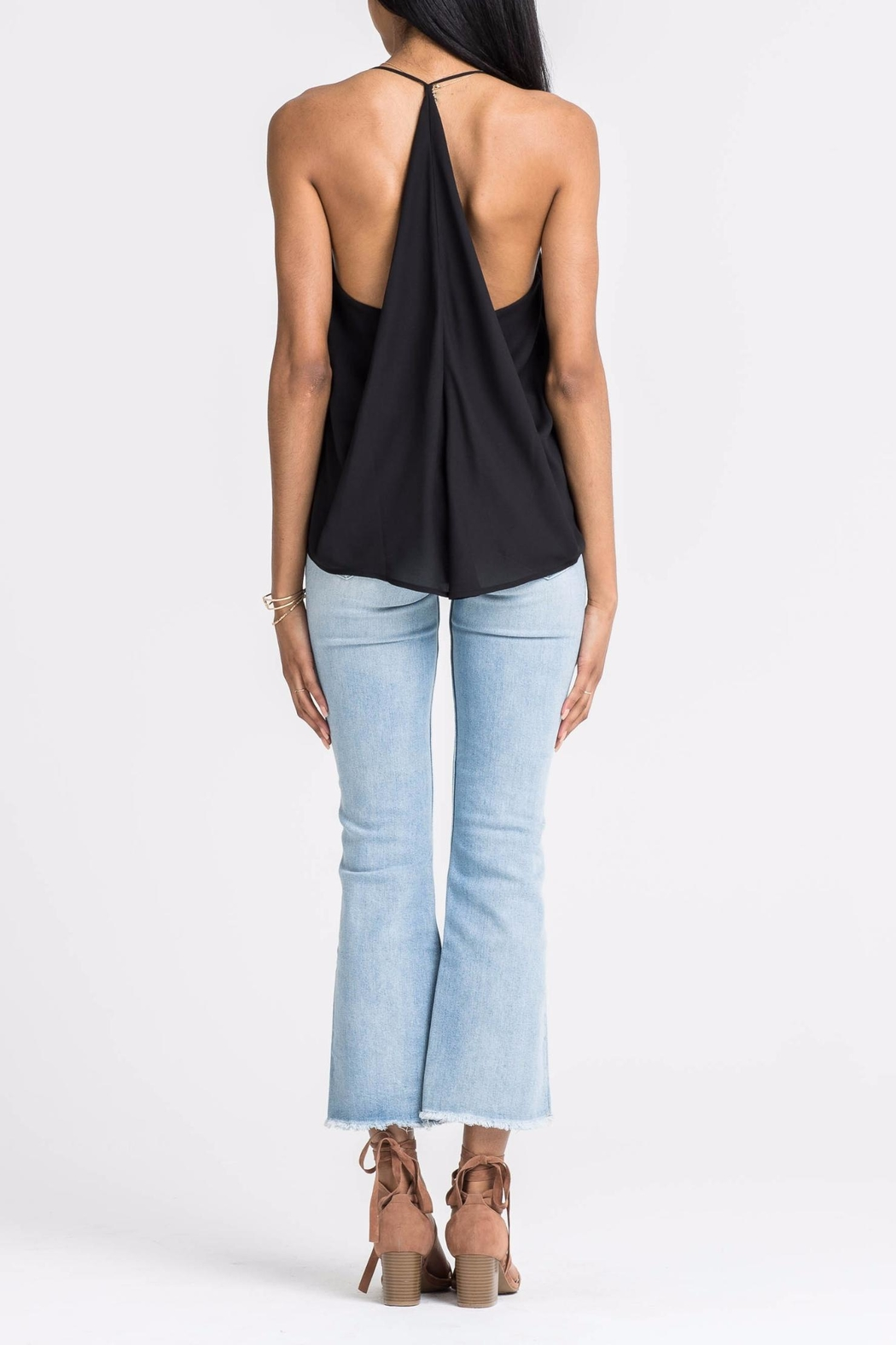 Lush Black Ruffle Tank - Side Cropped Image