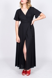 Lush Black Wrap Maxi Dress - Product Mini Image