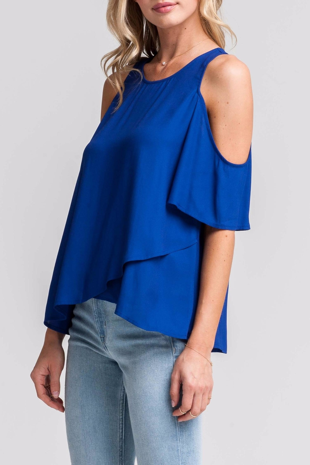 Lush Blue Cold-Shoulder Top - Front Full Image