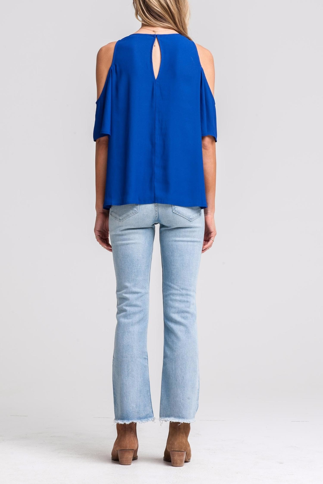 Lush Blue Cold-Shoulder Top - Side Cropped Image