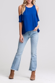 Lush Blue Cold-Shoulder Top - Front cropped