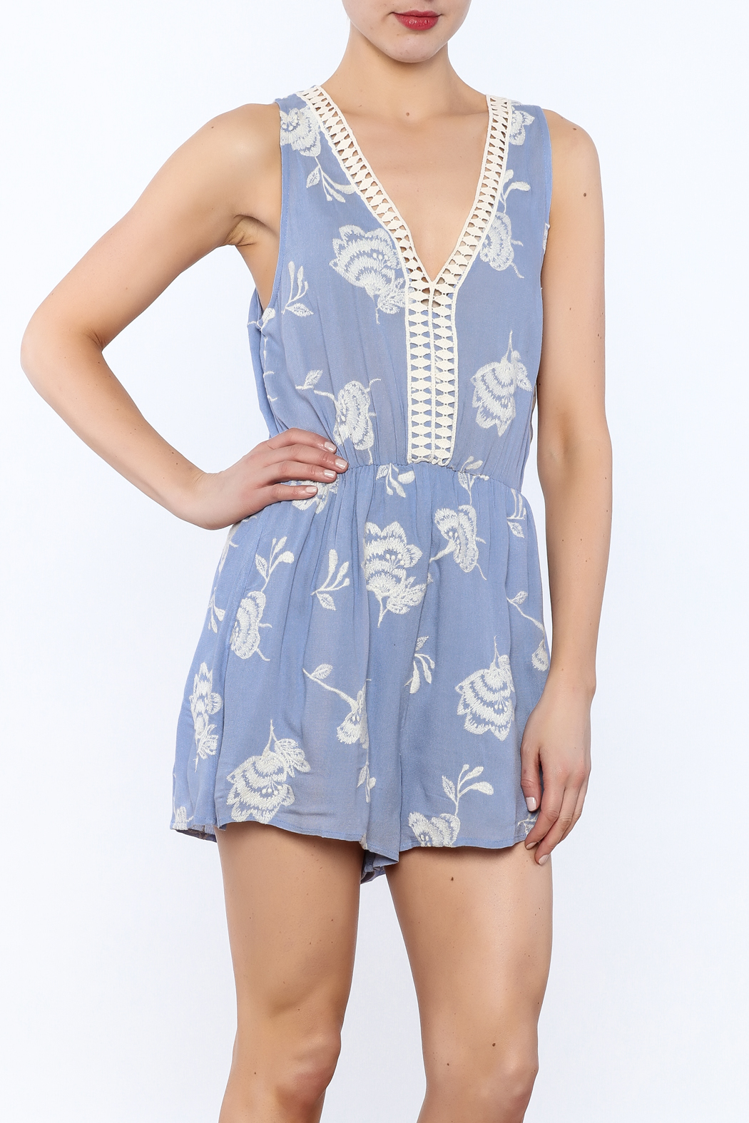 b289d92b8b38 Lush Blue Sleeveless Romper from Indiana by Single Thread Boutique ...