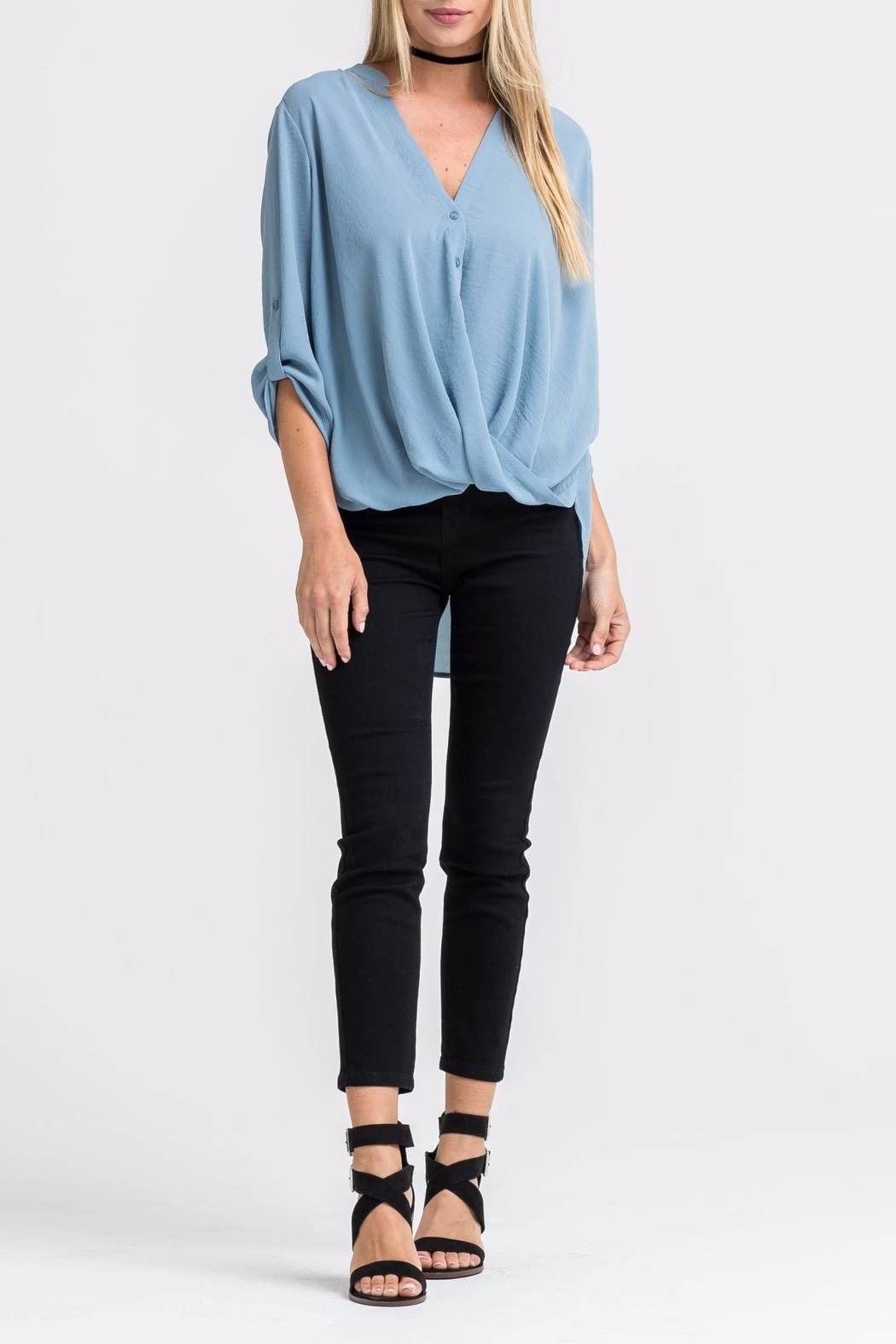 Lush Blue Twist-Front Shirt - Main Image