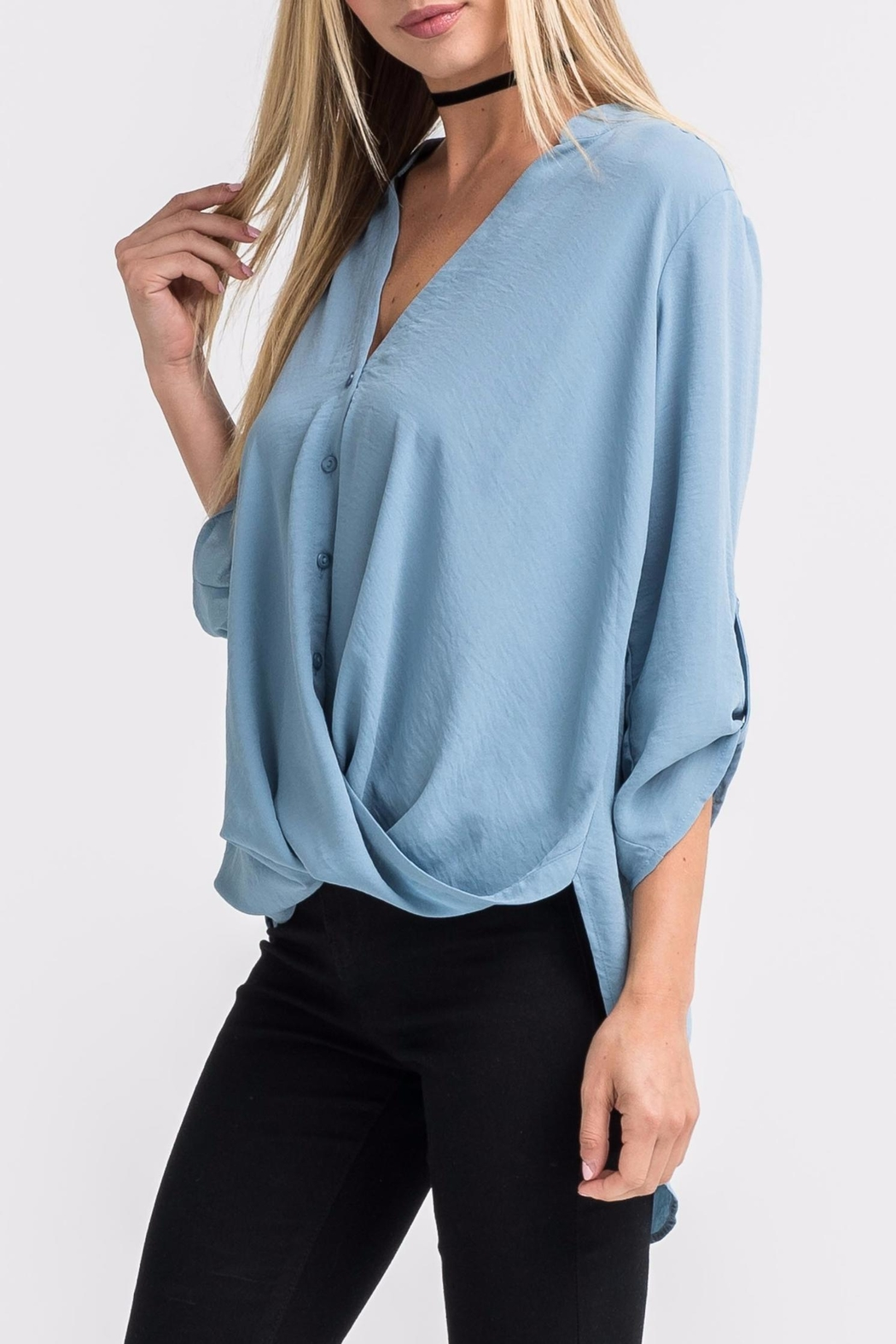 Lush Blue Twist-Front Shirt - Side Cropped Image