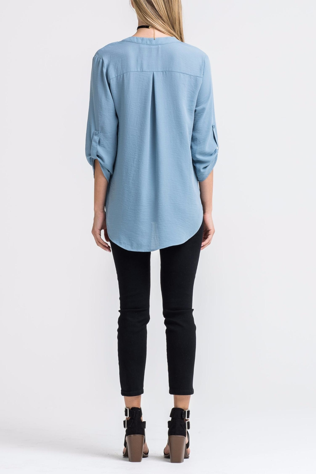 Lush Blue Twist-Front Shirt - Front Full Image