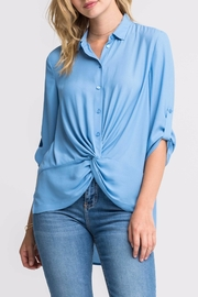 Lush Blue Twist-Front Shirt - Front cropped