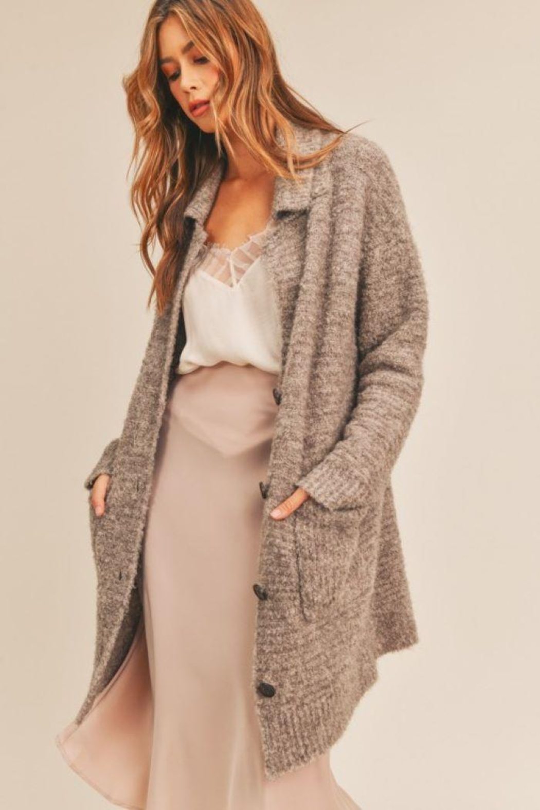 Lush Button Down Cardigan - Back Cropped Image