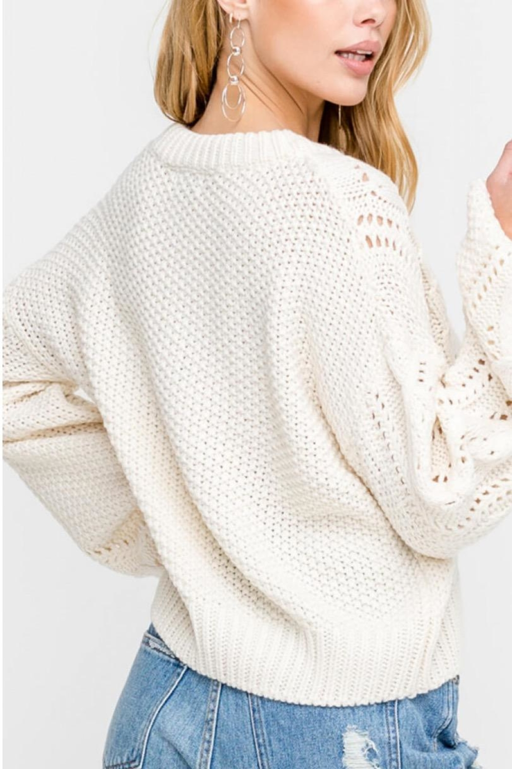 Lush Cable-Knit Pullover Sweater - Back Cropped Image