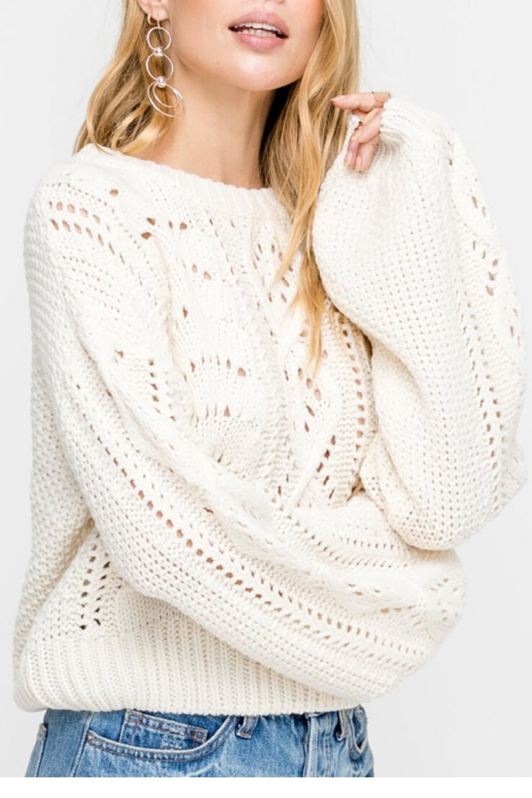 Lush Cable-Knit Pullover Sweater - Front Full Image
