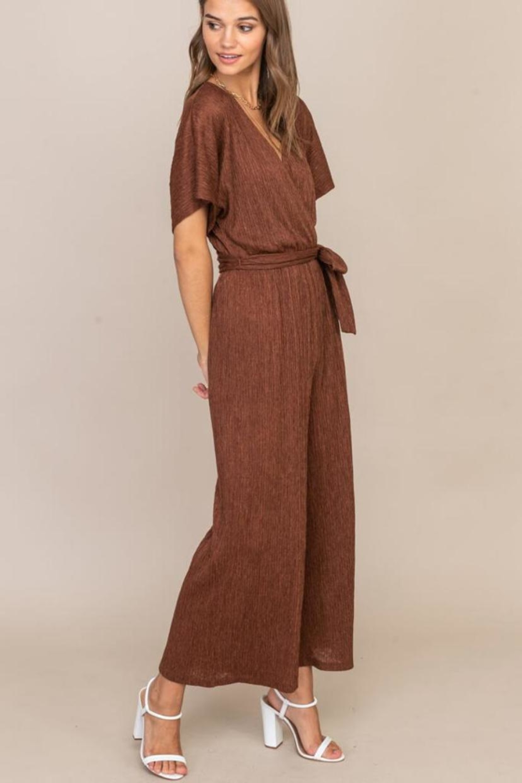 Lush Cappuccino Pleated Jumpsuit - Front Full Image