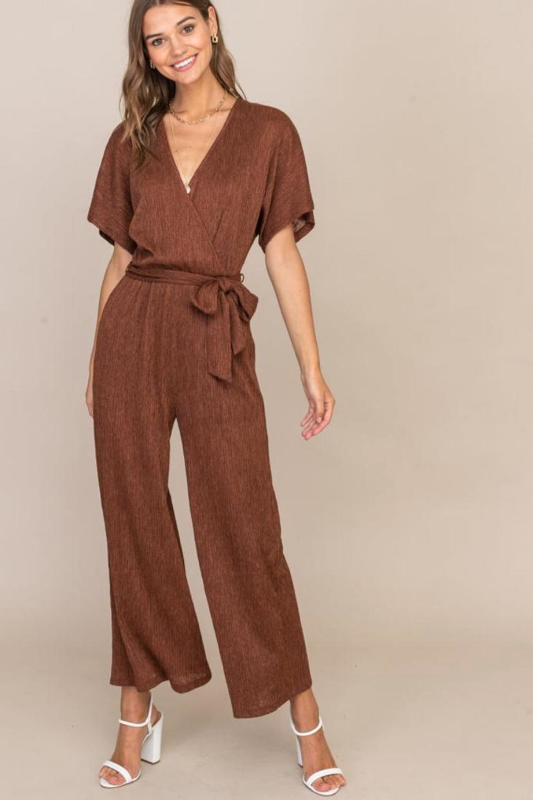 Lush Cappuccino Pleated Jumpsuit - Main Image