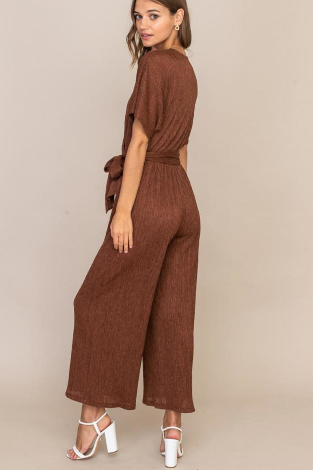 Lush Cappuccino Pleated Jumpsuit - Side Cropped Image