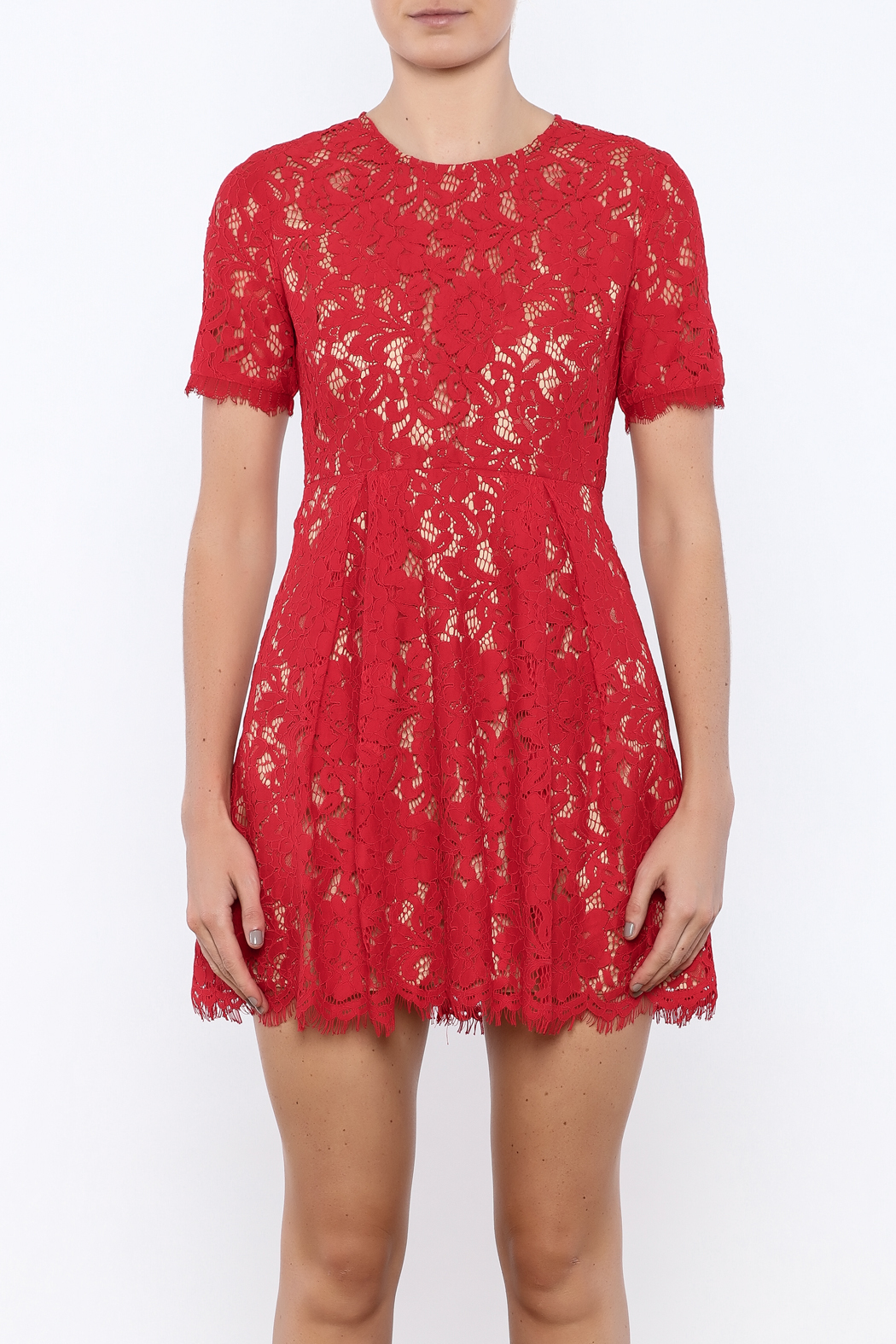 Lush Cherry Lace Dress - Side Cropped Image
