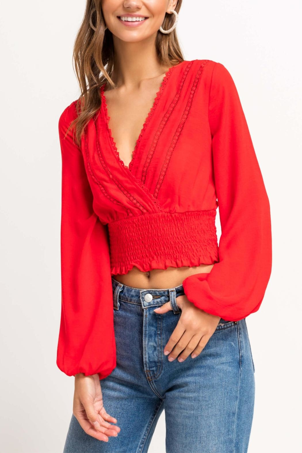 Lush Cherry Pop Crop Top - Front Cropped Image