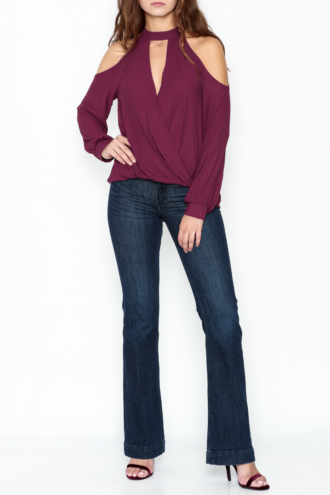Lush Cold Shoulder Blouse - Side Cropped Image