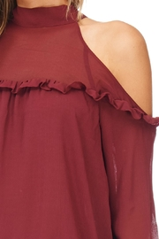 Lush Cold Shoulder Ruffle Blouse - Back cropped