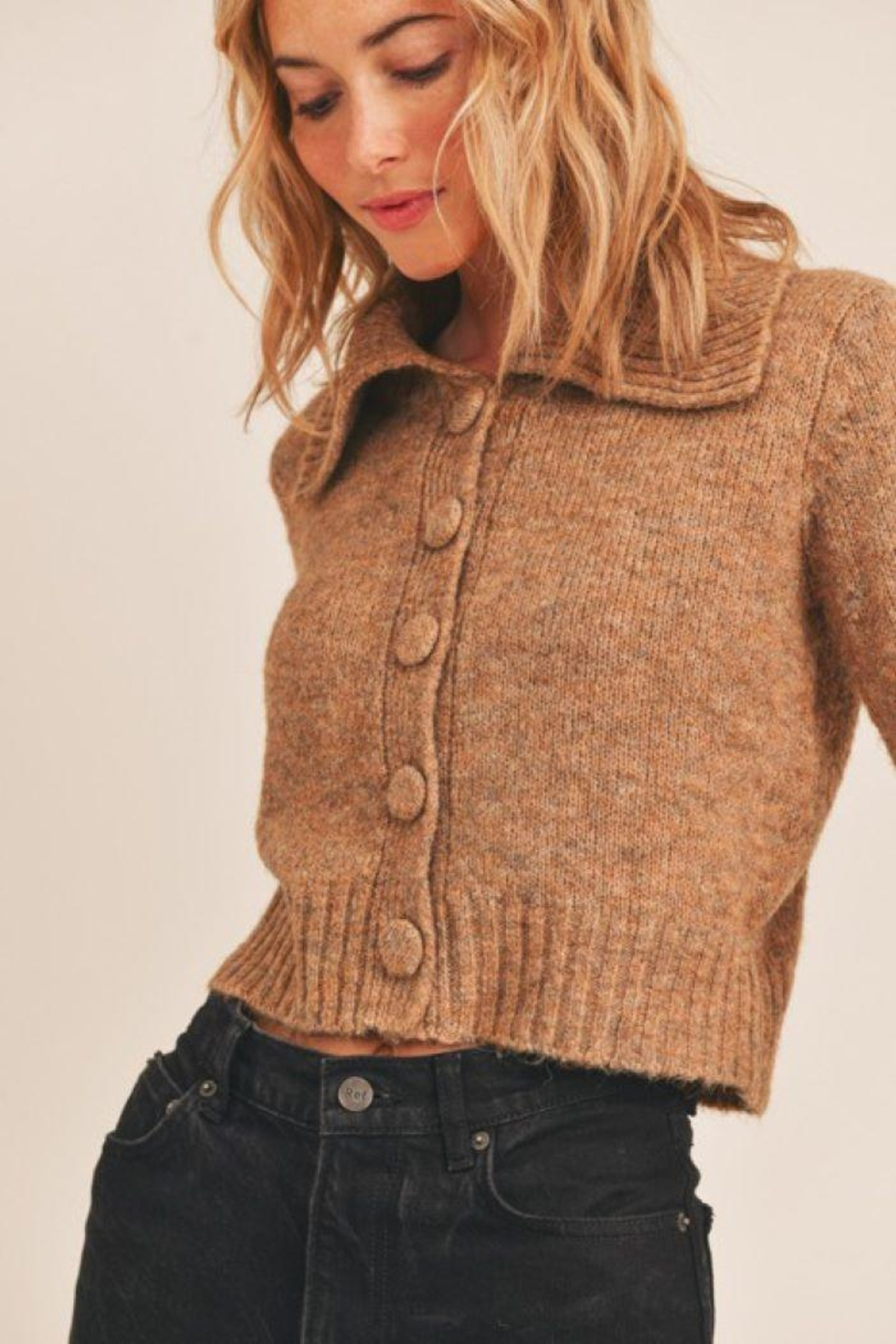 Lush Collared Button Cardigan - Front Full Image