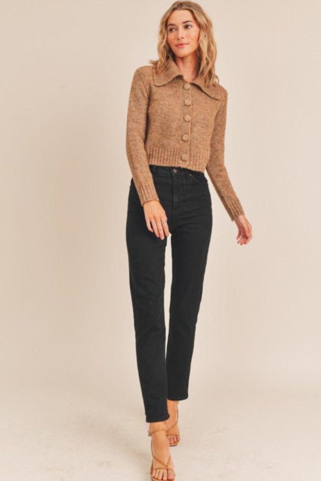 Lush Collared Button Cardigan - Side Cropped Image