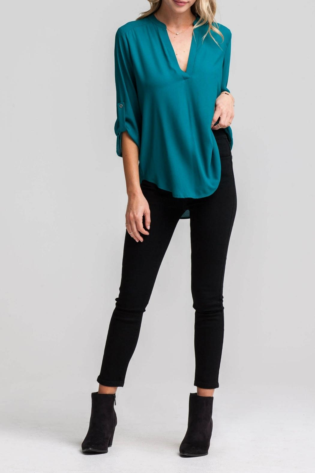 Lush Lovely Blue Blouse - Front Cropped Image