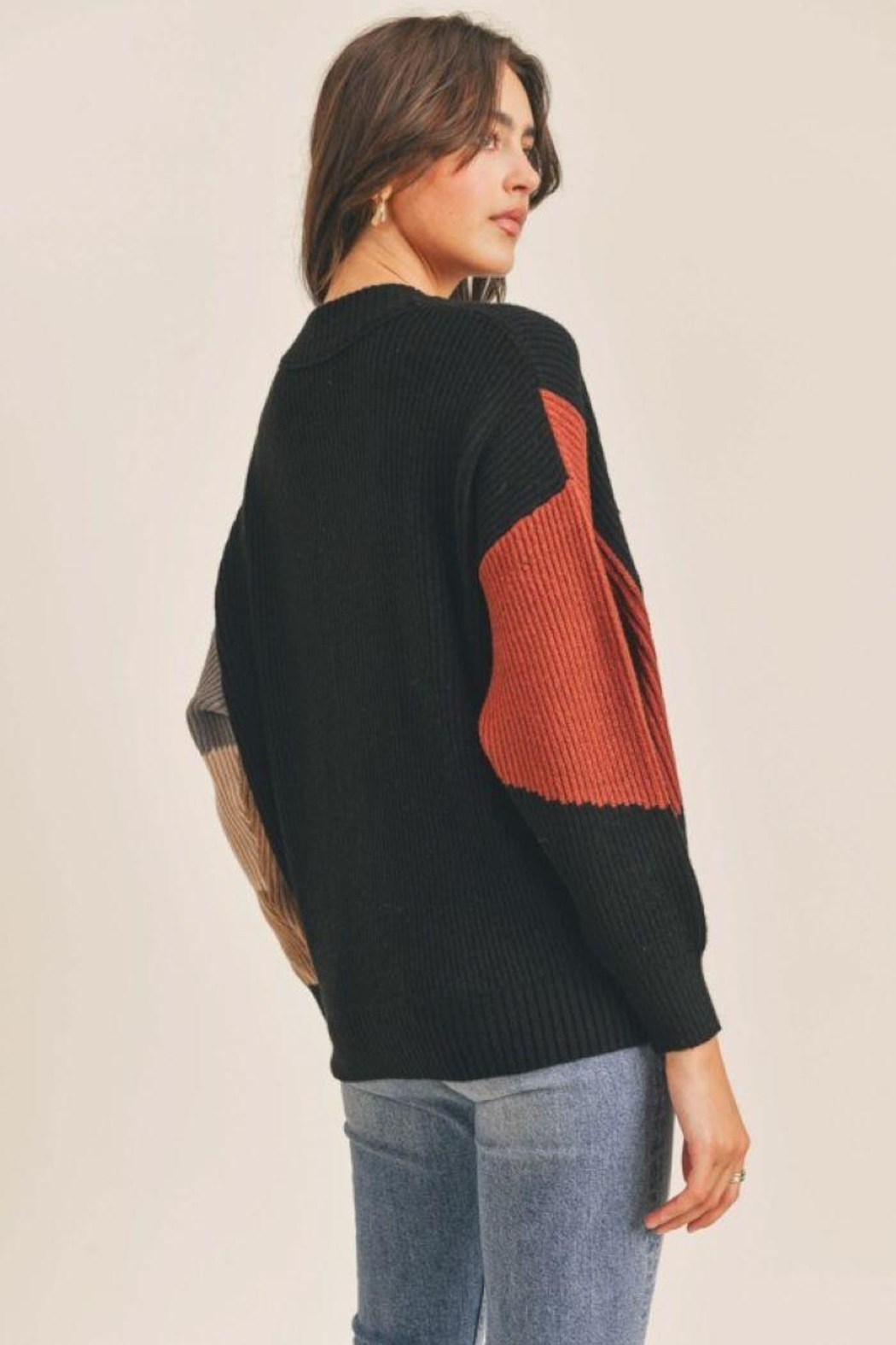 Lush Colorblock Button Down Cardigan - Side Cropped Image
