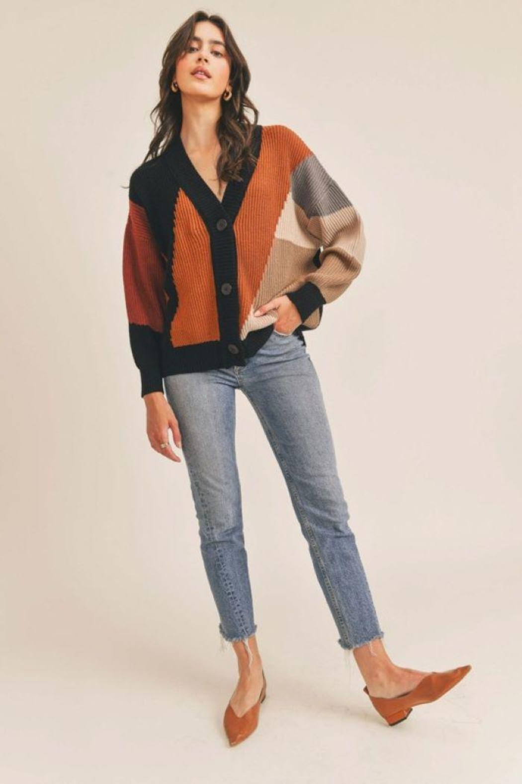 Lush Colorblock Button Down Cardigan - Front Full Image