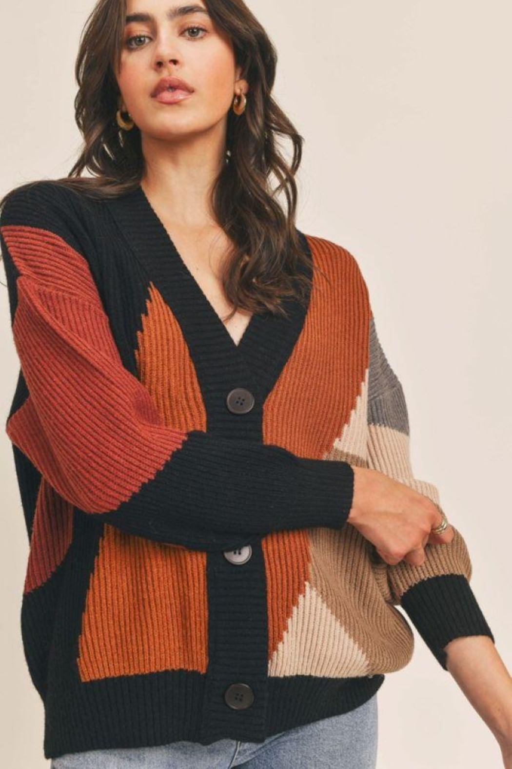 Lush Colorblock Button Down Cardigan - Back Cropped Image