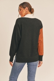 Lush Colorblock Mock Neck Sweater - Back cropped