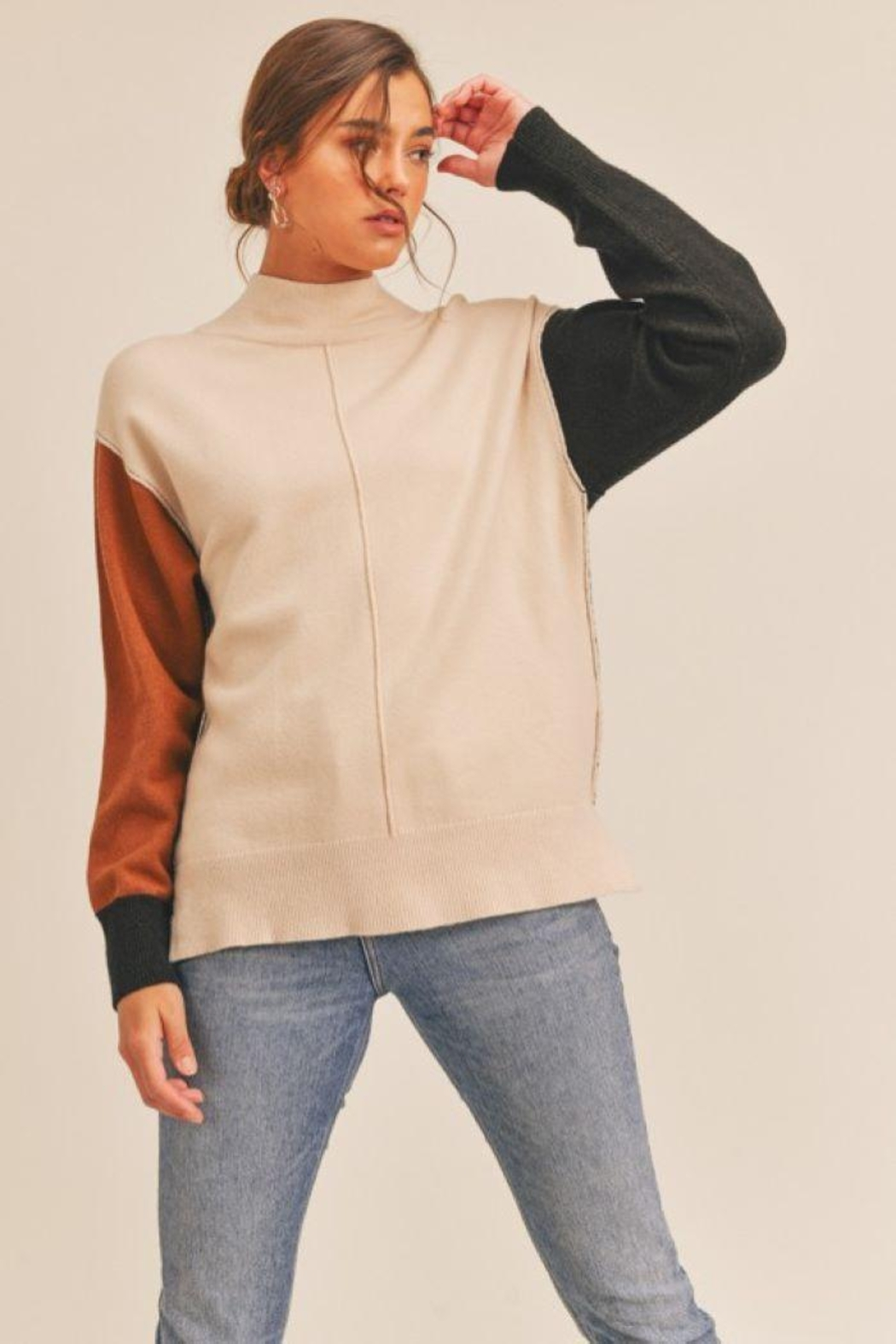 Lush Colorblock Mock Neck Sweater - Side Cropped Image