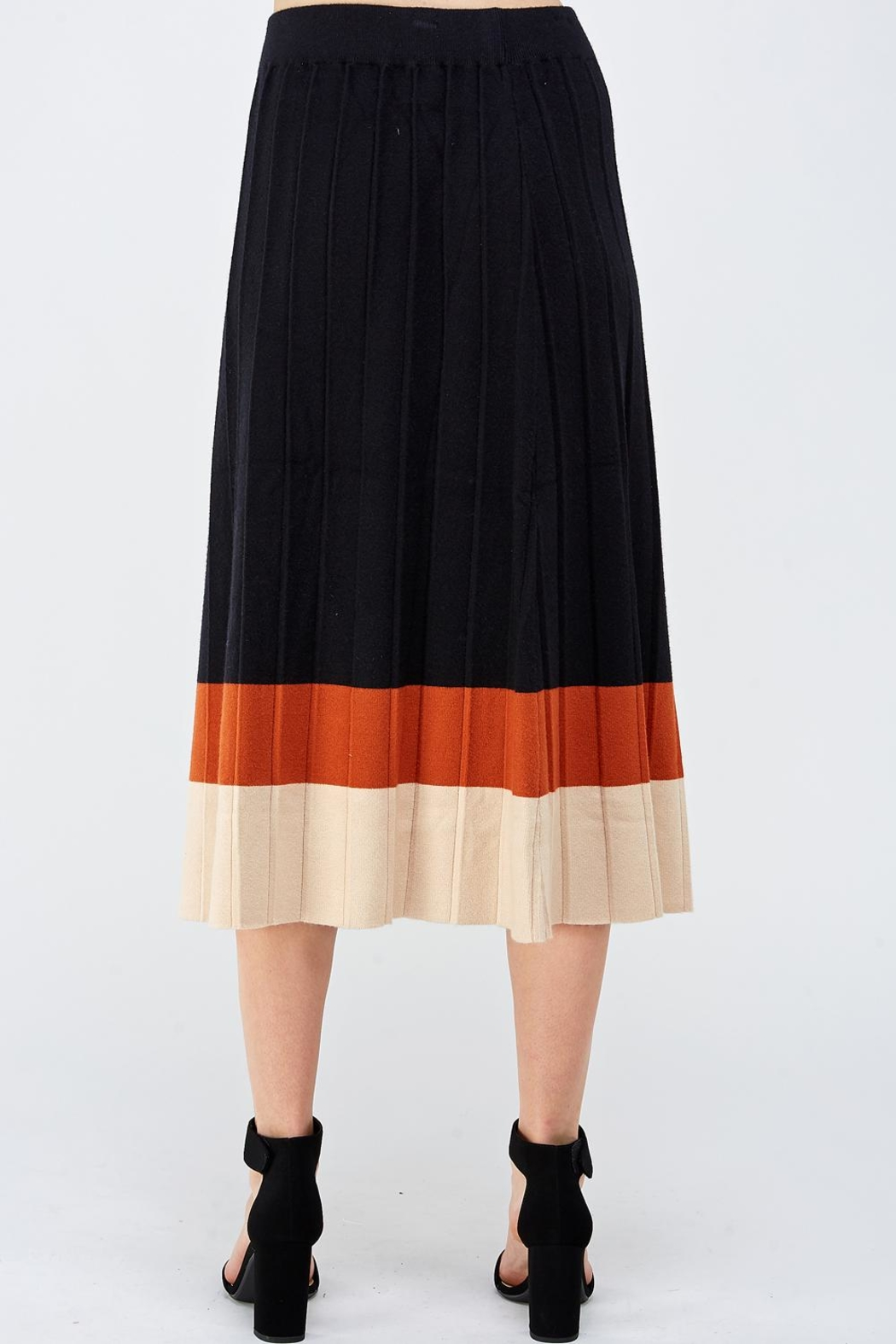 Lush Colorblock Sweater Skirt - Back Cropped Image