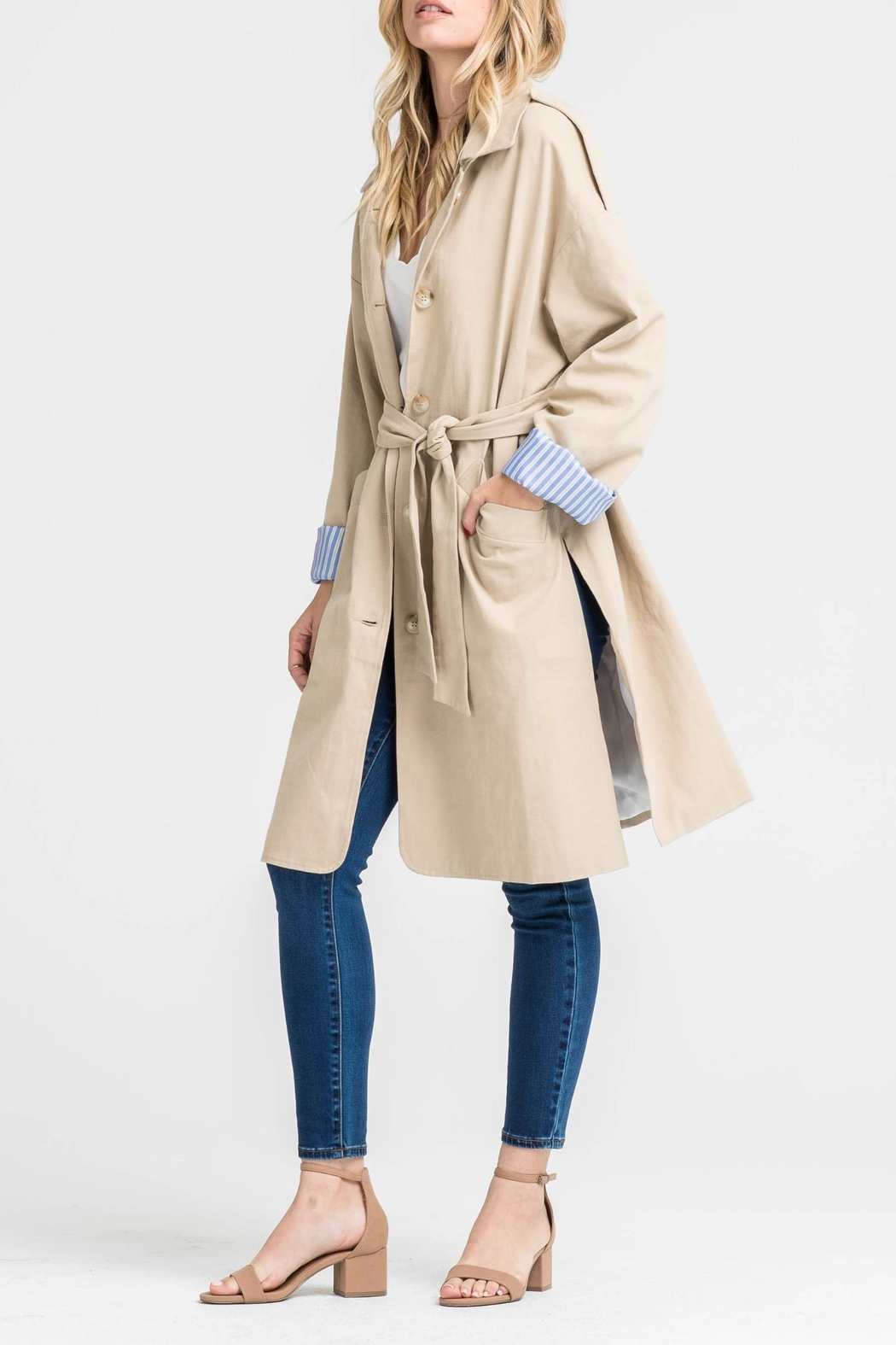 Lush Contrast Trench Coat - Front Cropped Image