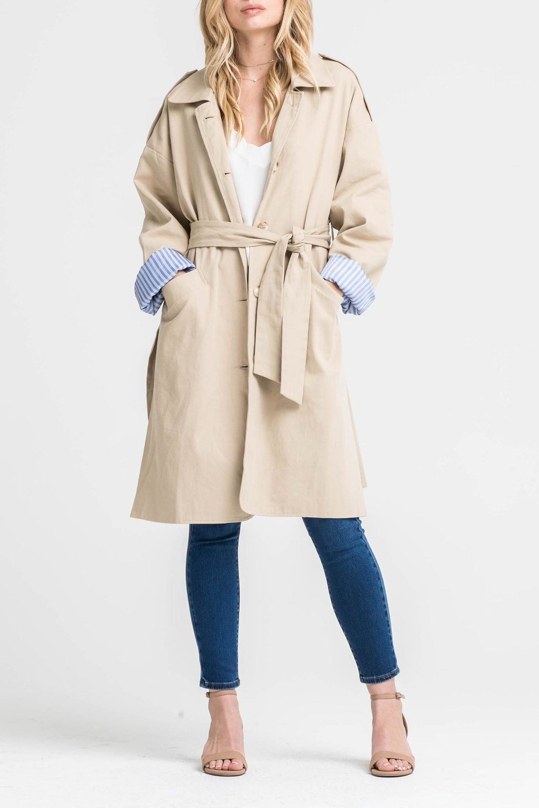 Lush Contrast Trench Coat - Main Image