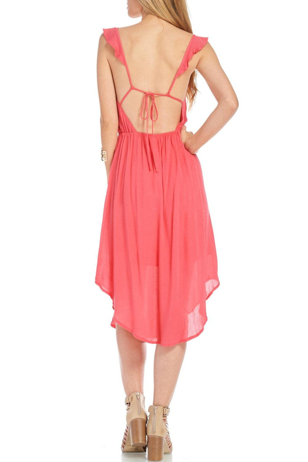 Lush Coral Embroidered Dress - Front Full Image