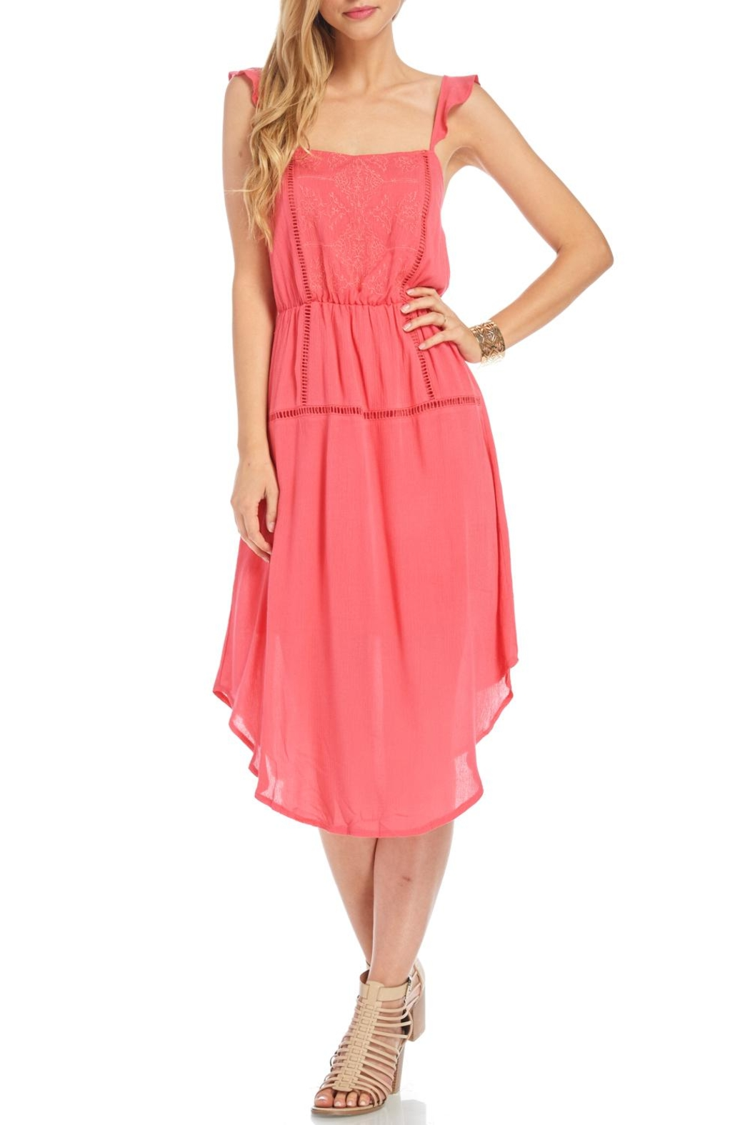 Lush Coral Embroidered Dress - Main Image