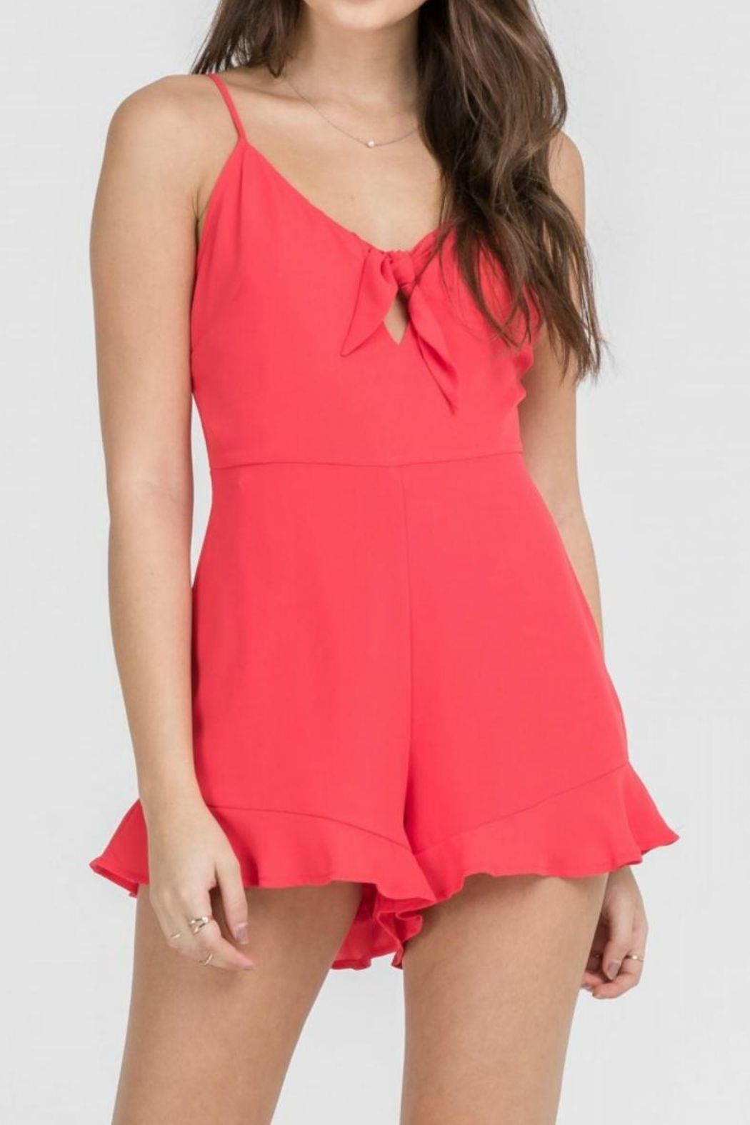 Lush Coral Romper - Front Cropped Image