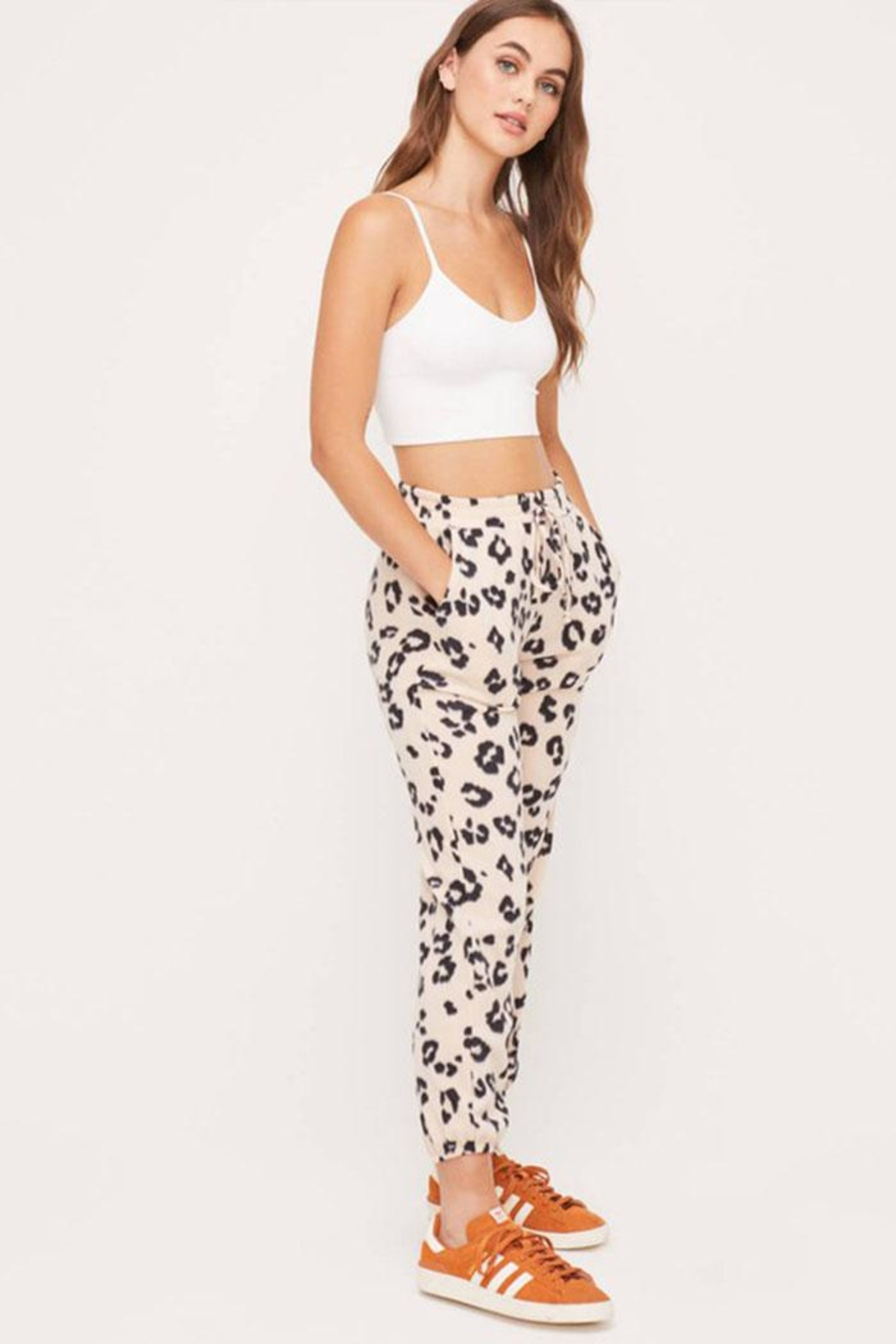 Lush Cozy Printed Pants - Side Cropped Image