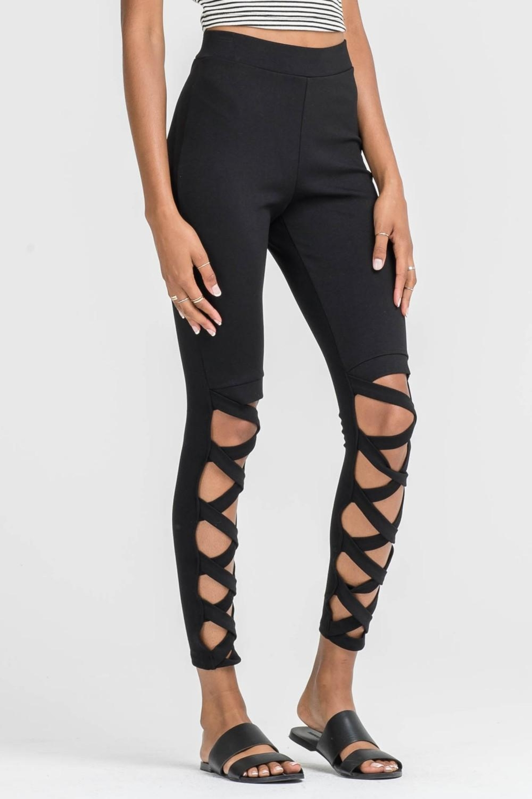 Lush Criss Cross Leggings - Front Cropped Image