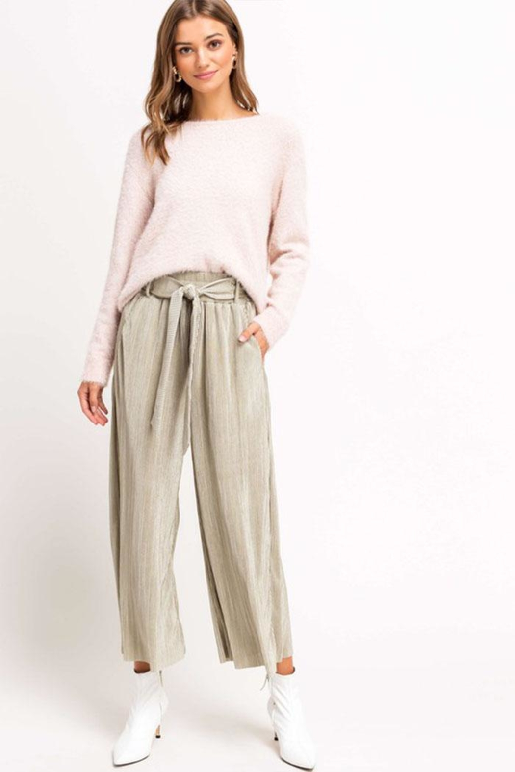 Lush Cropped Pleated Pants - Side Cropped Image
