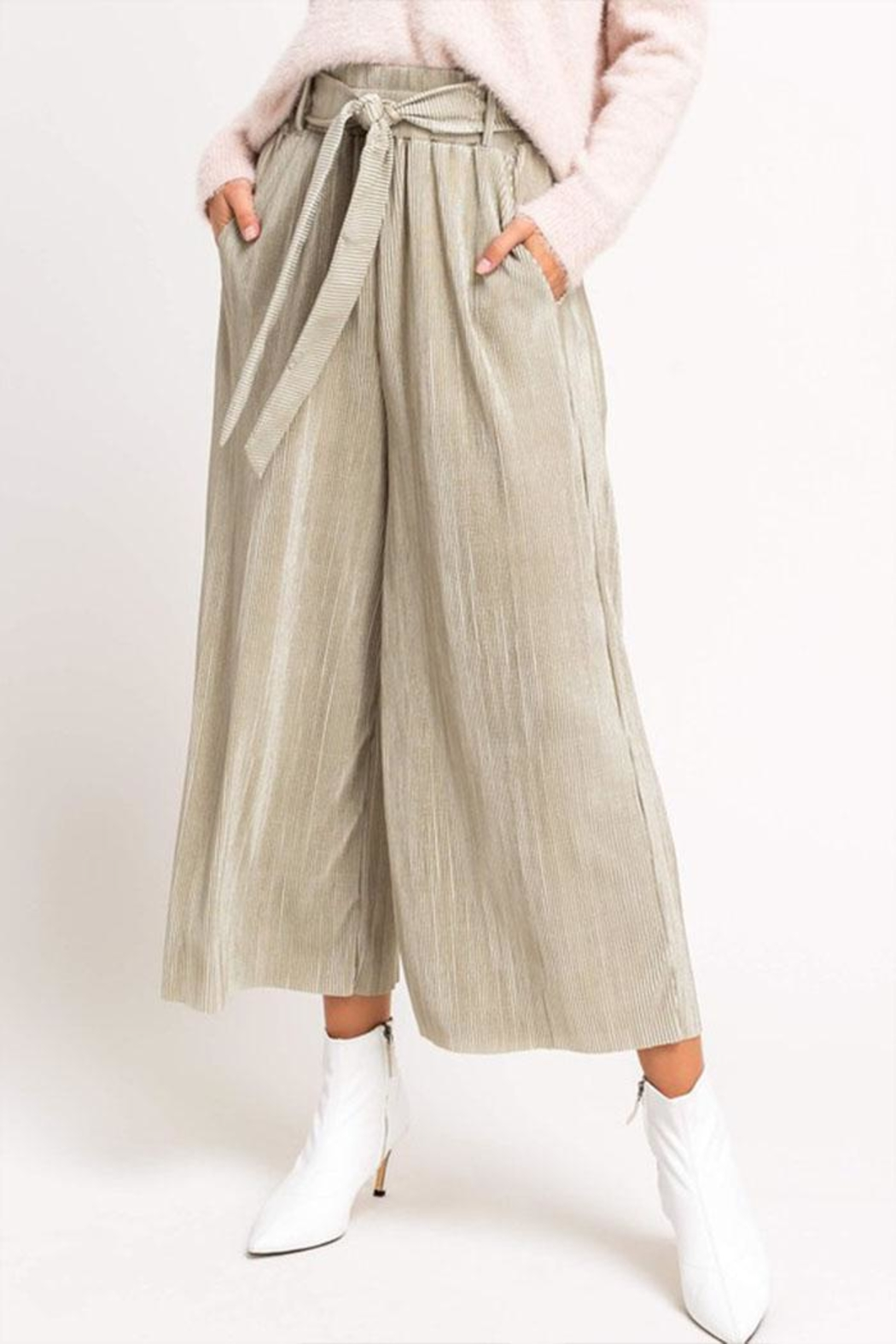 Lush Cropped Pleated Pants - Main Image
