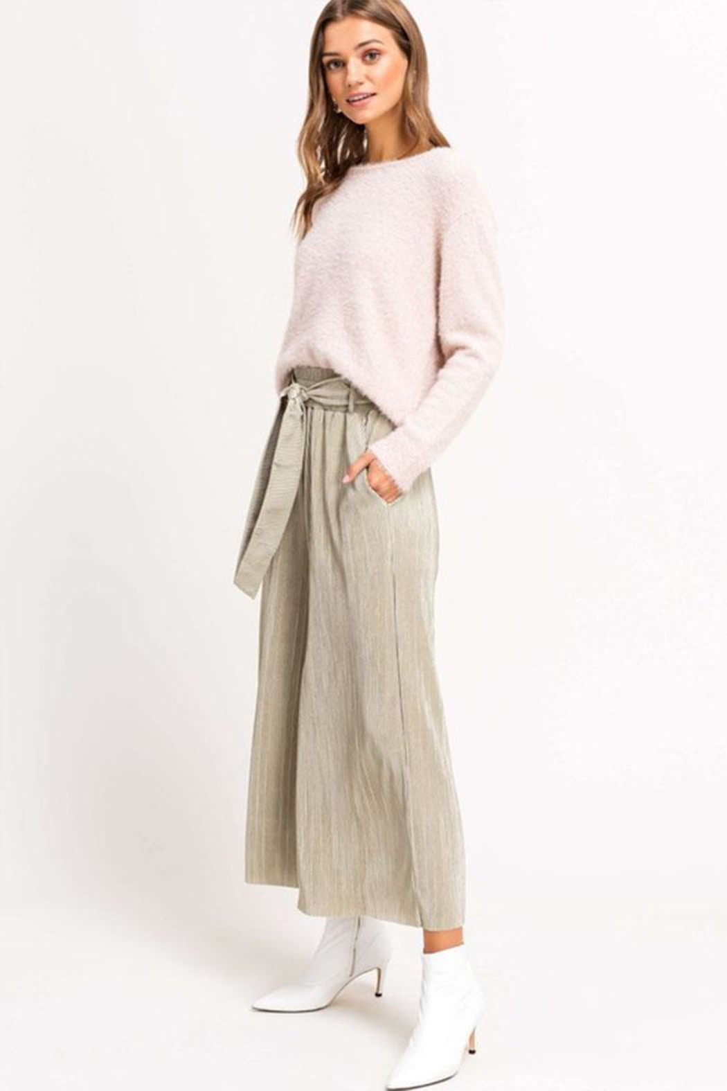 Lush Cropped Pleated Pants - Front Full Image