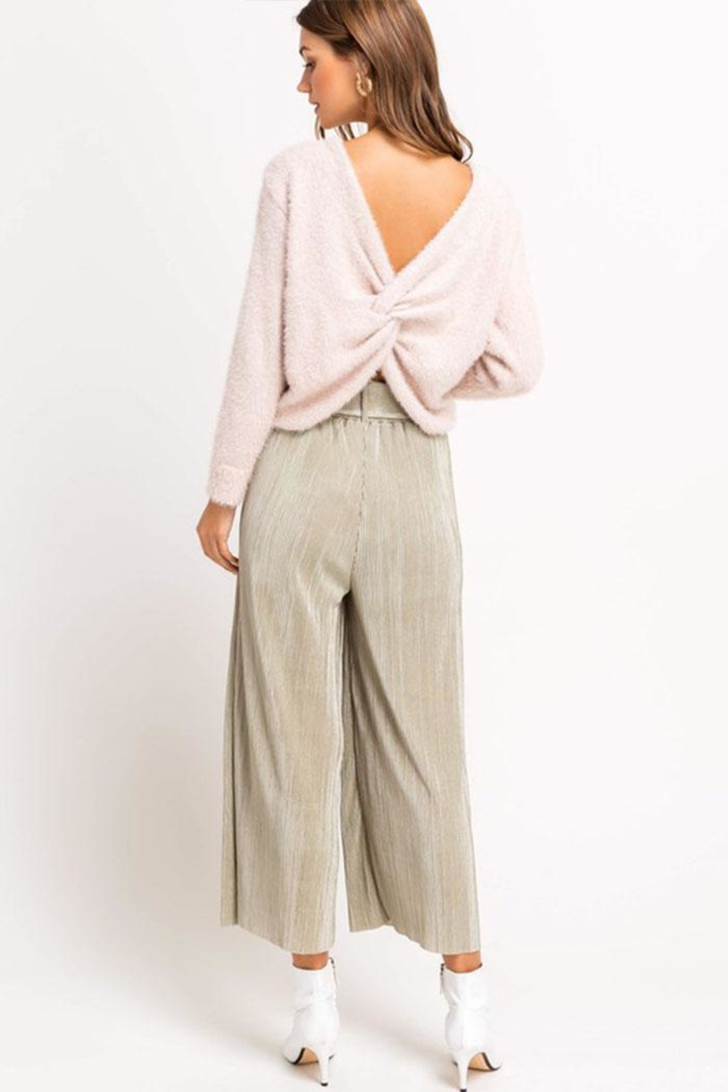 Lush Cropped Pleated Pants - Back Cropped Image