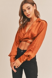 Lush Cropped Satin Wrap Top - Other