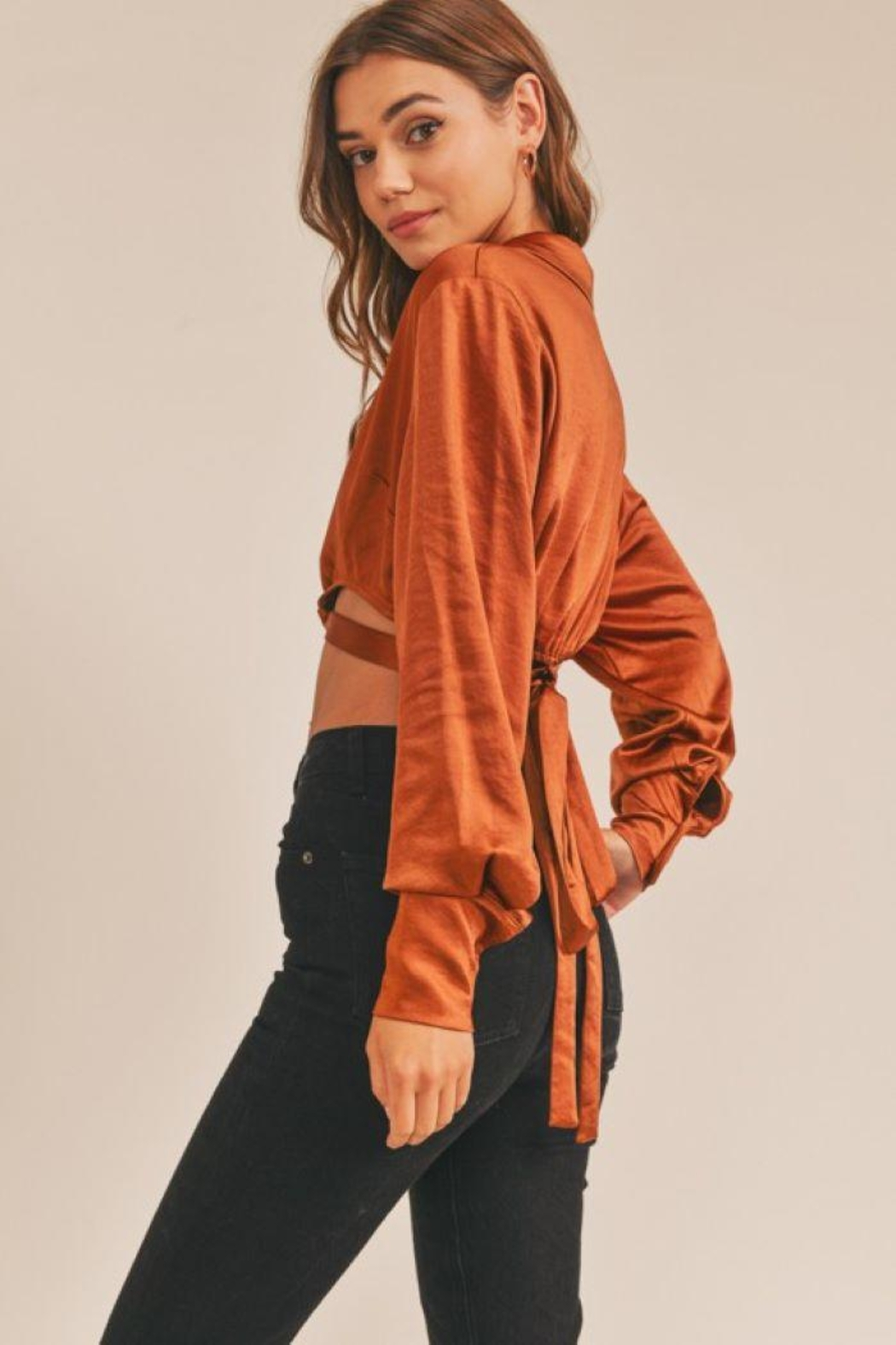 Lush Cropped Satin Wrap Top - Front Full Image