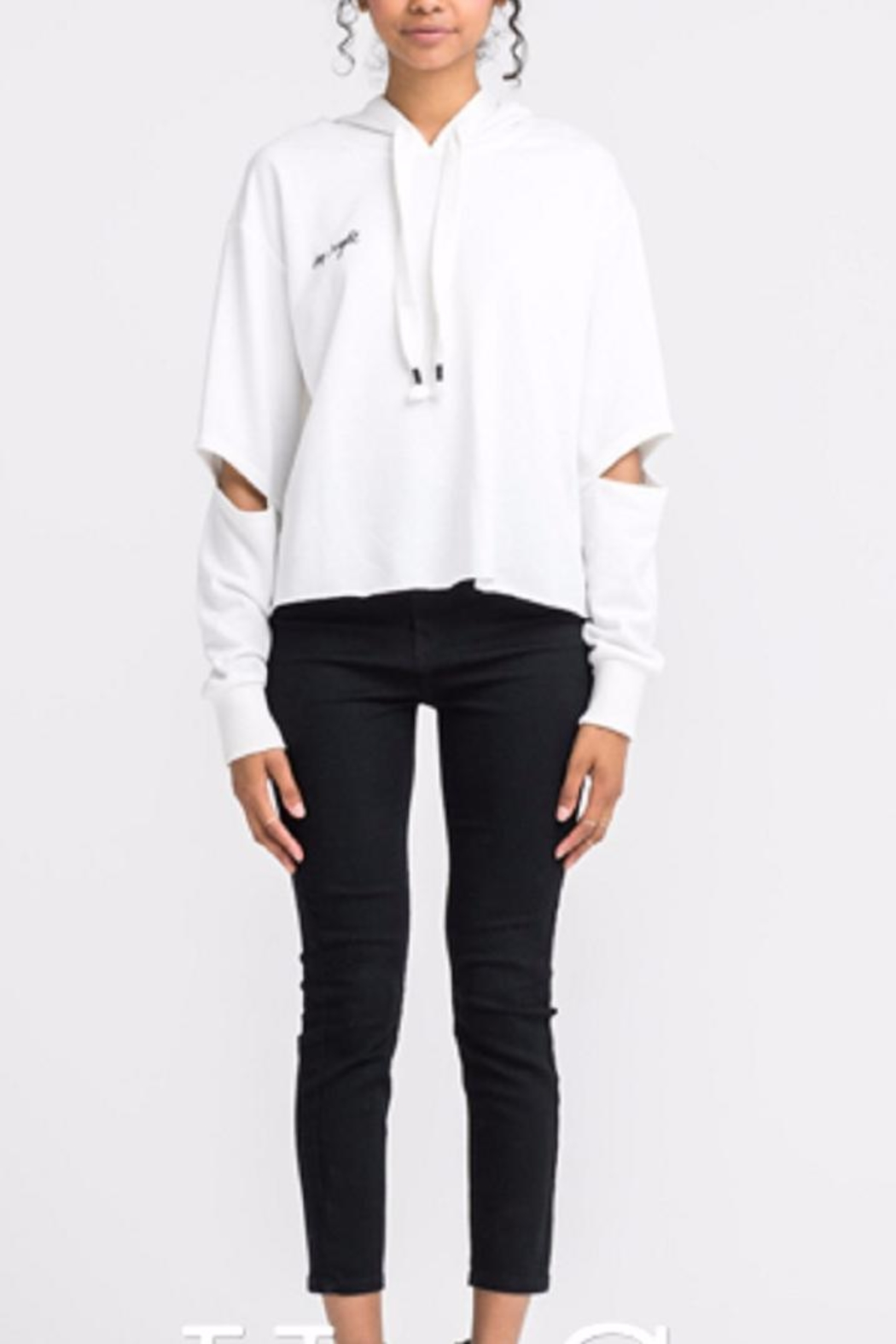 Lush Cutout Sleeve Hoodie - Front Cropped Image