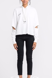 Lush Cutout Sleeve Hoodie - Front cropped