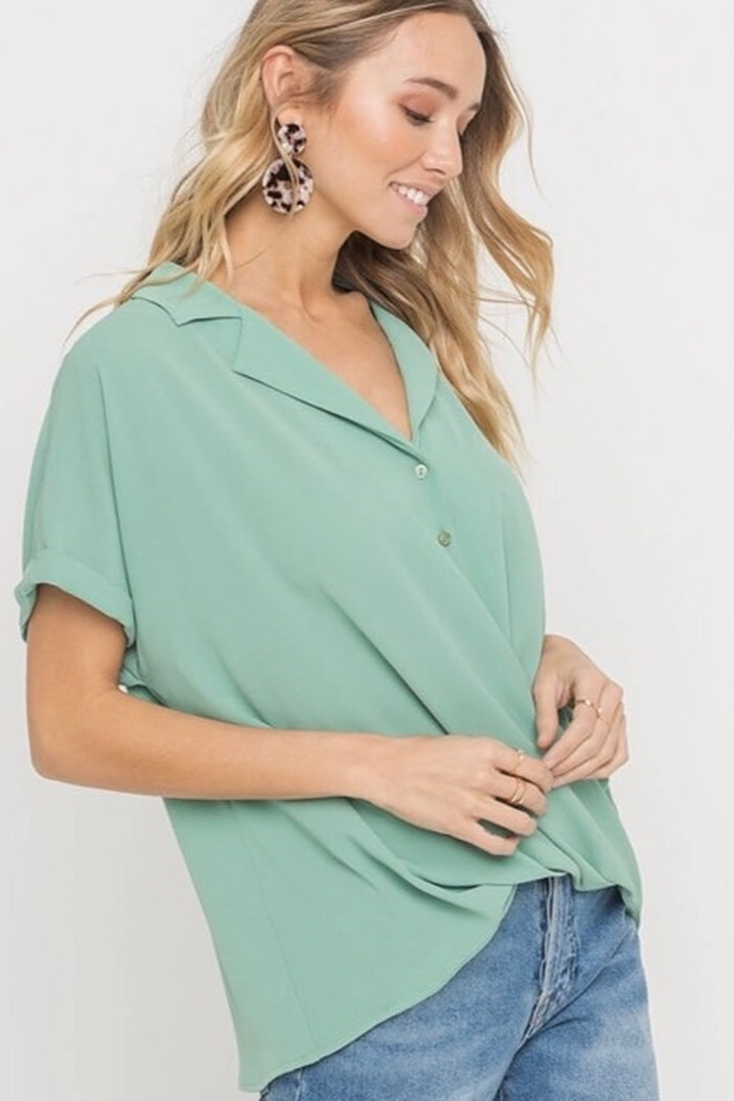 Lush  Draped Top - Front Cropped Image