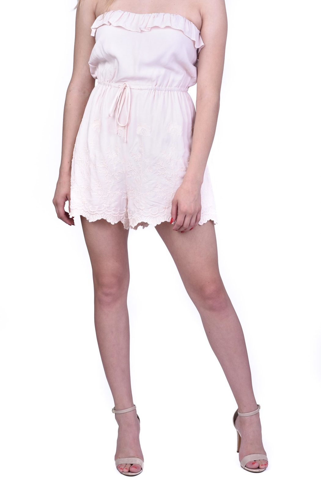 Lush Light Pink Embroidered Romper - Front Full Image