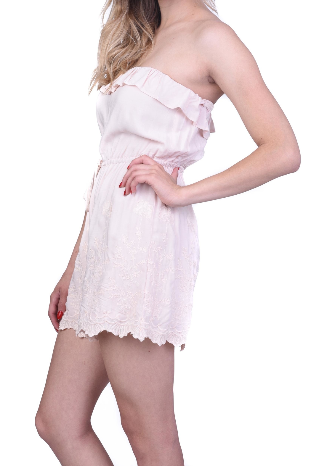 Lush Light Pink Embroidered Romper - Main Image